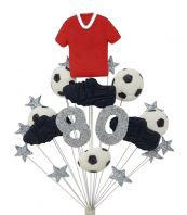 Football 80th birthday cake topper decoration red shirt - free postage